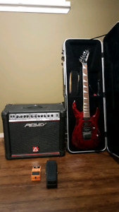 Jackson DK2 crimson red electric guitar  with peavey pro 112 amp