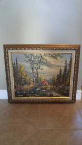 OIL ON CANVAS CABIN IN THE WOODS LANDSCAPE