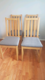 4 dining chairs with grey seats