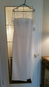 ABSOLUTELY BEAUTIFUL LONG WHITE WEDDING DRESS SIZE 10