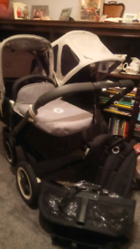 Bugaboo Donkey Grey with NEW Breezy Extendable Summer Hoods