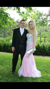Baby Pink Lace Prom Dress