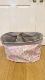 TM Designs Storage Basket pink and grey pattern