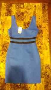Blue and black scuba knit bodycon dress