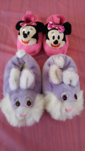 Size 7-8 Toddler Minnie Mouse and Easter Bunny Slippers