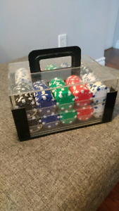 Set of poker chips in carrying case