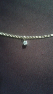 """21"""" solid cuban link chain with diamond pendant"""
