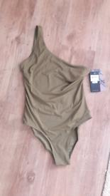 Khaki One Shoulder Swimsuit by Firetrap size 16 NEW