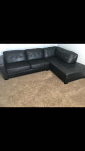 Brown Faux Leather Chaise Lounge Couch