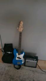 Bass guitar 3/4 LA Bass Guitar + 15W Amp Pack Blue