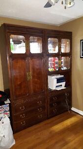 Two hutch cabinets for TV, Dishes, Books etc.