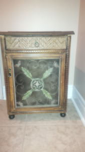 Antique end table with top drawer and bottom storage cupboard,