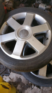 4 AUDI mags with summer tires on oem 235/45R17