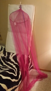 Pink net over the bed , like new $10***PLEASE VIEW POSTER'S OTH