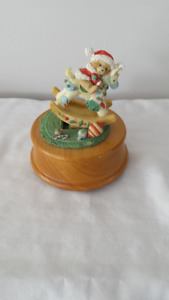 MUSIC BOX CHRISTMAS TEDDY BEAR ON ROCKING HORSE