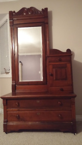 Rare Antique Dresser with beveled glass mirror & side cabinet