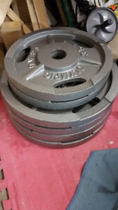 """2"""" Olympic weight Plates + 7ft 45lbs Bar"""