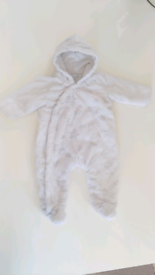Baby white Fluffy snowsuit 0-6