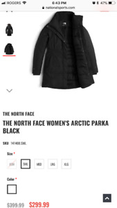 The North Face all black parka extra small 0-2. Xs