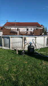 Piscine 21 pieds avec thermopompes et équipements