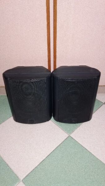 QUALITY SOUNDS OF ACOUSTIC RESEARCH AR EDGE SEQUEL SURROUND SPEAKERS.