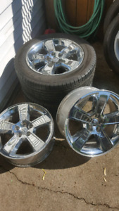 """Dodge 18"""" chrome rims and tires 225/60"""