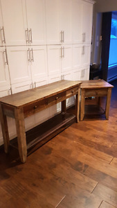 Rustic style sofa table and end tables