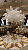 Gold stand ostrich feather centerpieces for rent