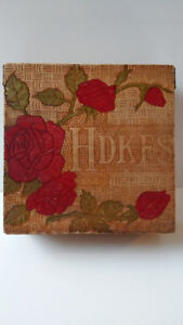 Vintage Folk Art Handkerchief Box Pyrography with Roses