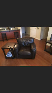 Leather coach & chair