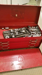 Red Vintage Metal Beach Tool Kit with sockets