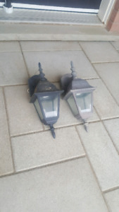 Two outdoor house wall lights