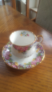 Beautiful vintage English Queens porcelain Cup and Saucer.