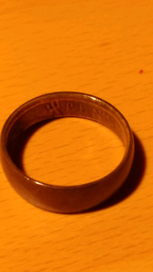 Extremely rare 1919 wedding coin ring made of one british penny