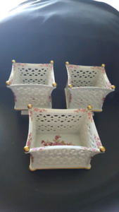3 pcs set of rare WALLENDORF 1764 porcelain baskets GERMANY