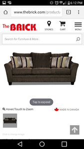Brown Couch Chair and ottoman