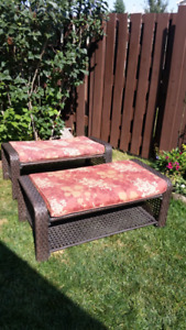 Selling 2 Brown Wicker benches at $50.00 each