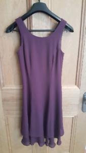 Knee length, plum coloured formal dress - size 6