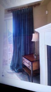 superbes rideaux en velours turquoise