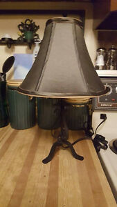"Olive and Black Iron Lamp 17 1\2""Tall"