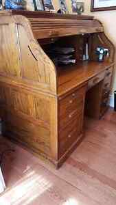 Solid Wood Roll Top Desk and Matching Filing Cabinet from Almira