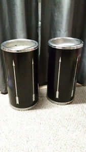 Pair of Original 1960s Metal Floor Ash Trays - 21 inches tall.