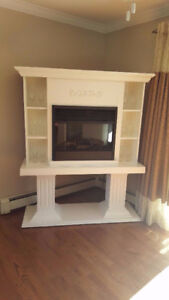 Custom built white fireplace and Mantle