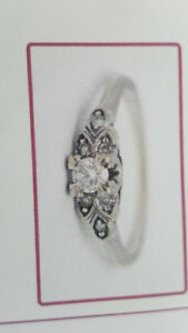 Beautiful woman's antique white gold engagement ring
