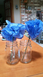 blue tissue flowers table decorations wedding party