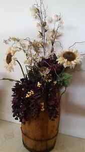 Antique barrel flower arrangement