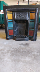Antique cast iron fireplace (with stain glass)