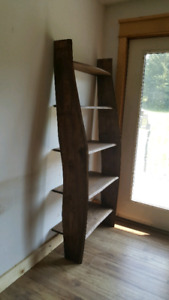 Live edge wall stand shelving unit.