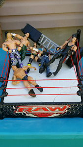 RAW Wrestling ring with wrestlers