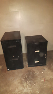 two metal file cabinet's with a key